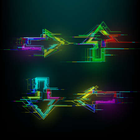 Set of futuristic glitch arrows in cyberpunk style. Modern glowing direction pointers with distortion effect. Good for design promo electronic music events, games, banners, web. Vector illustration
