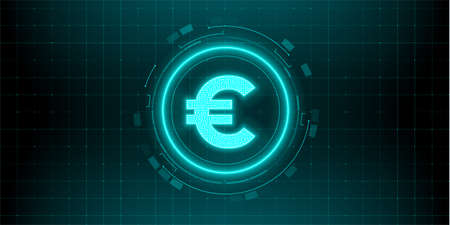 Digital currency euro sign on abstract HUD technology background. Futuristic hi-tech digital money. Electronic economy of the future. Vector illustration