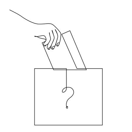 Vote Continuous Line Drawing. The Hand Puts the Voting Form in the Ballot Box. The winner of the election is unknown - a question symbol on the ballot box. Vector illustration