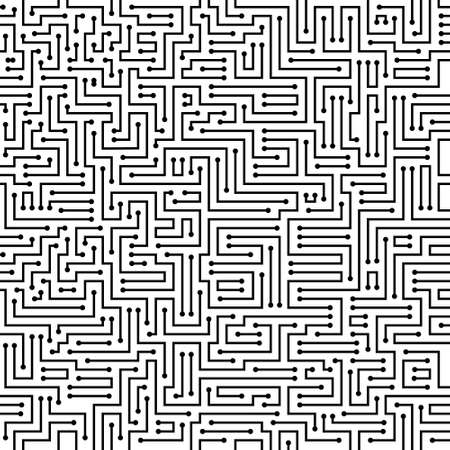 Circuit board texture. Abstract background of chip. Digital tech background in black and white colors. Technology pattern. Vector illustration.