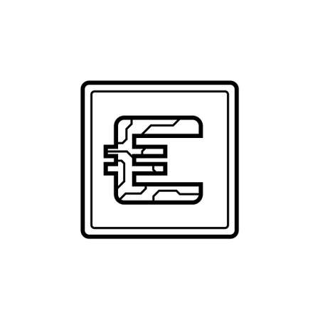 Digital currency Euro icon on isolated white background. Futuristic sign of digital currency with circuit board pattern. The electronic economy of the future. Vector illustration