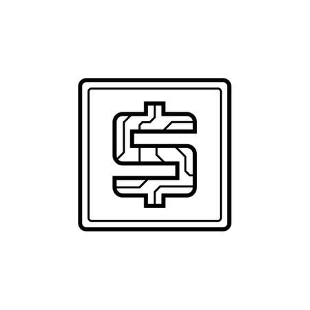 Digital currency USA dollar icon on isolated white background. Futuristic sign of digital currency with circuit board pattern. The electronic economy of the future. Vector illustration