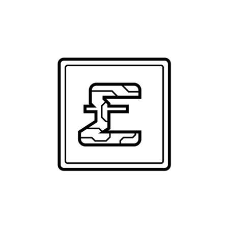 Digital currency pound sterling icon on isolated white background. Futuristic sign of digital currency with circuit board pattern. The electronic economy of the future. Vector illustration Illustration