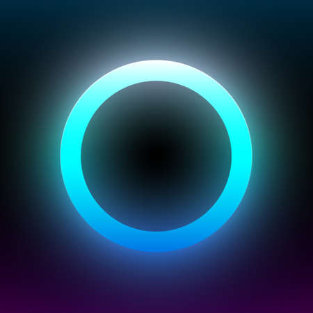 Abstract blue glowing circle. Geometric round shape with vibrant gradient. Design element for poster, banner, flyer, card, etc. Dark background. Vector illustration. Illustration