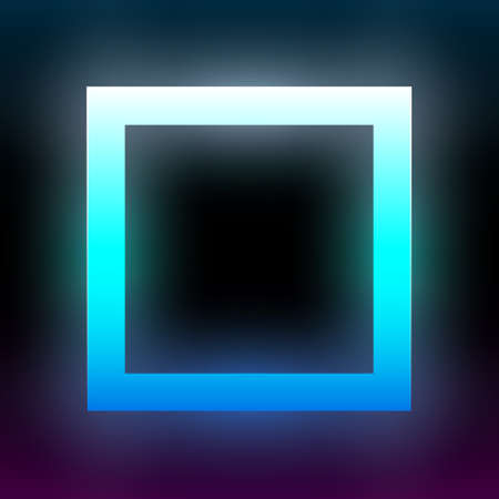 Abstract blue glowing square. Geometric rectangular shape with vibrant gradient. Design element for poster, banner, flyer, card, etc. Dark background. Vector illustration.
