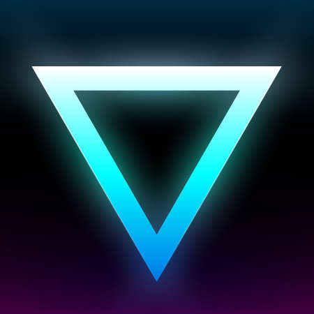 Abstract blue glowing triangle. Geometric shape with vibrant gradient. Design element for poster, banner, flyer, card, etc. Dark background. Vector illustration. Illustration