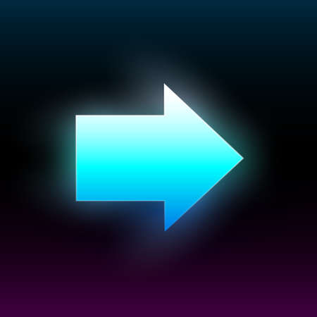 Blue glowing right arrow. Modern glowing direction pointer with vibrant gradient. Design element for poster, banner, flyer, card, etc. Dark background. Vector illustration. Illustration
