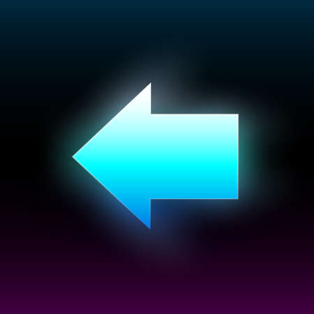 Blue glowing left arrow. Modern glowing direction pointer with vibrant gradient. Design element for poster, banner, flyer, card, etc. Dark background. Vector illustration.