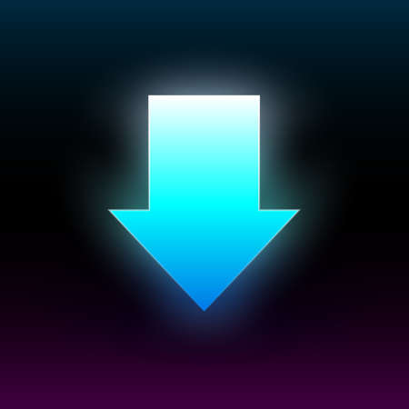 Blue glowing down arrow. Modern glowing direction pointer with vibrant gradient. Design element for poster, banner, flyer, card, etc. Dark background. Vector illustration. Illustration