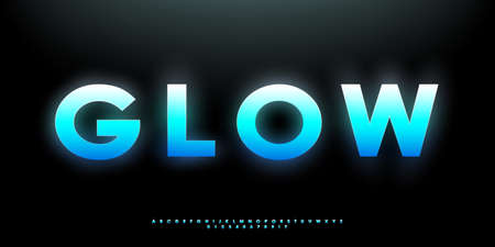 Blue glowing bold font. Futuristic vibrant gradient English letters, numbers, and symbols. Design for title, banner, poster, etc. Vector illustration.