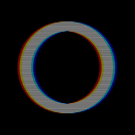 VHS glitch circle in retro style. Geometry shape with distortion effect. Good for design promo electronic music events, games, banners, web, etc. Vector illustration Illustration