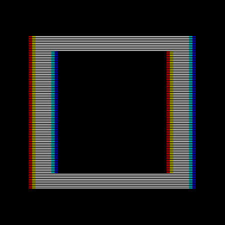 VHS glitch square in retro style. Geometry shape with distortion effect. Good for design promo electronic music events, games, banners, web, etc. Vector illustration
