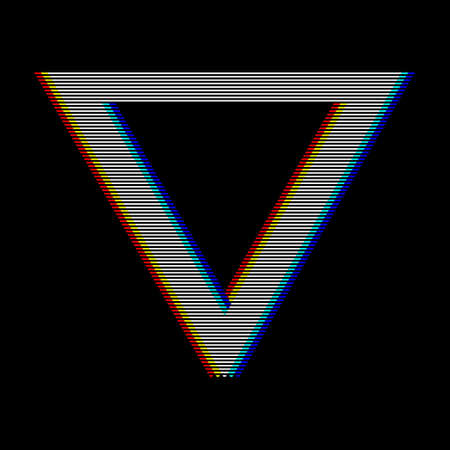 VHS glitch triangle in retro style. Geometry shape with distortion effect. Good for design promo electronic music events, games, banners, web, etc. Vector illustration