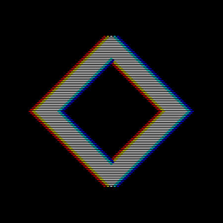 VHS glitch rhombus in retro style. Geometry shape with distortion effect. Good for design promo electronic music events, games, banners, web, etc. Vector illustration Illustration