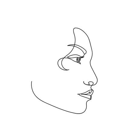 Continuous line abstract female portrait. Single line woman face isolated on white background. Woman fashion beauty concept. Design for model business, t-shirt, icon. Vector Illustration