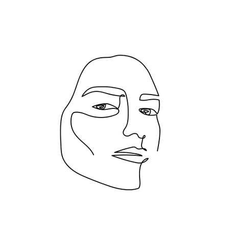 Continuous line abstract portrait. Single line unisexual face isolated on white background. Woman or man fashion beauty concept. Design for model business, t-shirt, icon. Vector