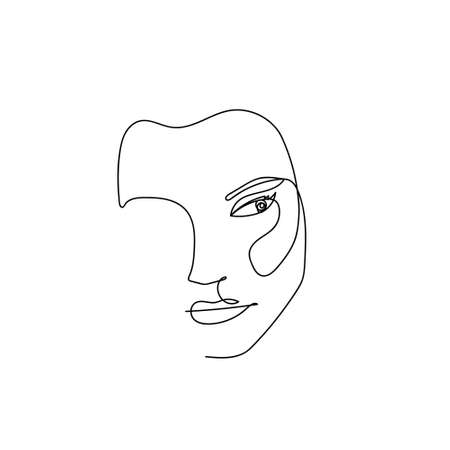 Continuous line abstract female portrait. Single line woman face isolated on white background. Minimalist woman fashion beauty concept. Design for model business, t-shirt, icon. Vector Illustration