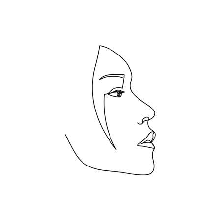 Continuous line Asian female abstract portrait. Single line woman face isolated on white background. Design for model business, t-shirt, icon. Vector Illustration