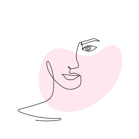 Continuous line abstract face. Contemporary female portrait. Hand drawn line art of woman with liquid colored shape element. Beauty fashion minimalist concept. Vector Illustration