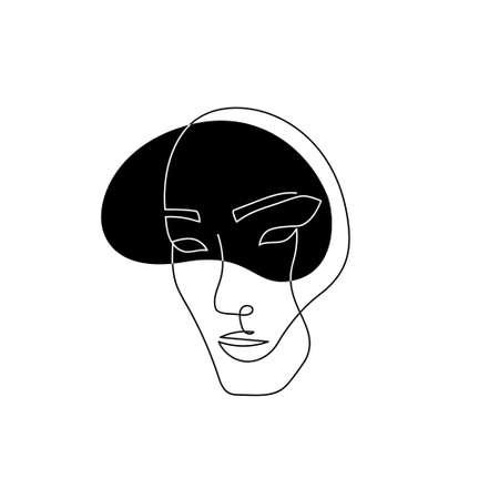 Continuous line asian face. Contemporary female portrait. Hand drawn line art of woman with liquid colored shape element. Beauty fashion minimalist concept. Vector Illustration