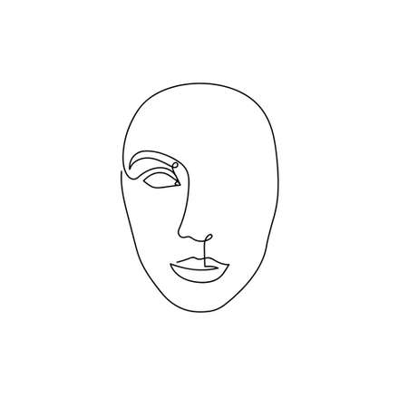 Continuous line abstract face. Contemporary unisexual portrait. Hand drawn line art isolated on white background. Beauty fashion minimalist concept. Vector