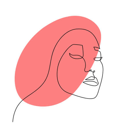 Continuous line abstract face. Contemporary female portrait. Hand drawn line art of woman with liquid red shape element. Beauty fashion minimalist concept. Vector