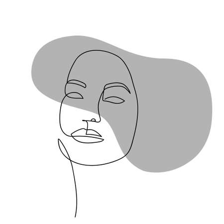 Continuous line abstract face. Contemporary female portrait. Hand drawn line art of woman with liquid gray shape element. Beauty fashion minimalist concept. Vector Illustration