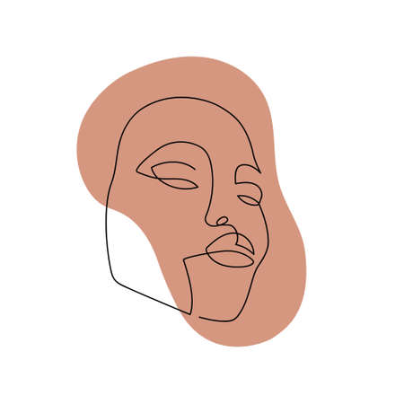 Continuous line abstract face. Contemporary female portrait. Hand drawn line art of woman with liquid colored shape element. Beauty fashion concept. Vector