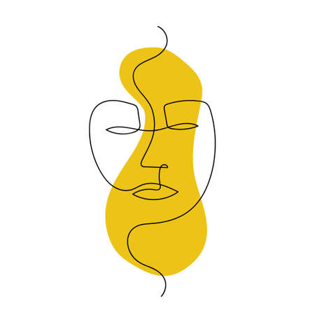 Continuous line abstract face. Contemporary unisexual portrait. Hand drawn line art with liquid colored shape element. African mask concept. Vector