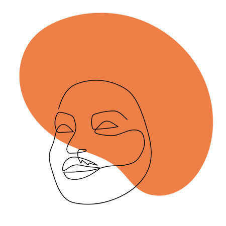 Continuous line abstract face. Contemporary female portrait. Hand drawn line art of woman with liquid orange colored shape element. Beauty fashion minimalist concept. Vector