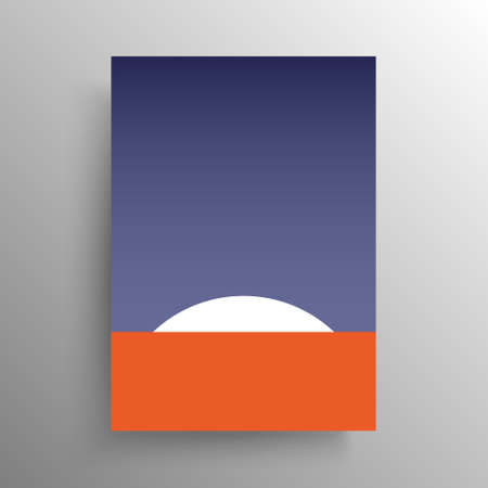 Minimalist abstract flat artistic design for cover and poster or wall decoration, vector. Sunrise on the red planet for interior design.