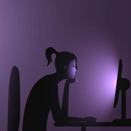 Internet addiction. A woman with a ponytail sits at a computer late at night. Vector illustration of people immersion to networks and spending too much time on the internet.