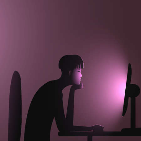 Internet addiction. A woman with an undercut bob hairstyle sits at a computer late at night. Vector illustration of people immersion to networks and spending too much time on the internet.