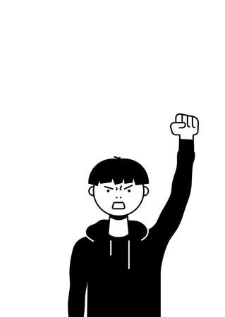 A man protests with a raised up fist, screaming angrily. Male protester or activist. Design for vertical banner, flyer or placard with copy space. Vector flat illustration. Illustration