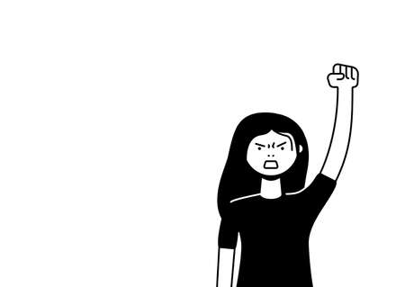 A woman protests with a raised up fist, screaming angrily. Female protester or activist. Design for horizontal banner or placard with copy space. Vector flat illustration. Illustration