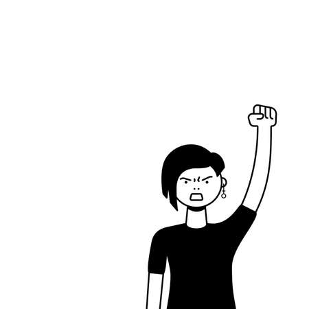 A woman protests with a raised up fist, screaming angrily. LGBTQ female protester or activist. Design for square banner or placard with copy space. Vector flat illustration. Illustration