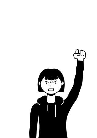 A woman protests with a raised up fist, screaming angrily. Female protester or activist. Design for vertical banner, flyer or placard with copy space. Vector flat illustration. Illustration