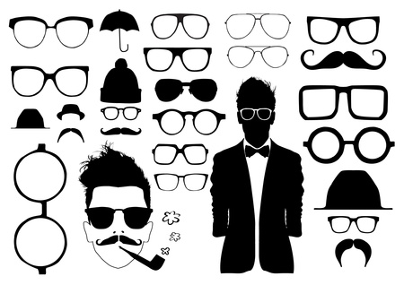 eye glass frame: Set of glasses and other accessory Illustration