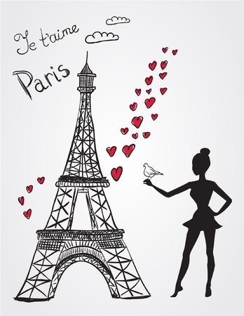 romantic picture: Eiffel tower and girl with bird