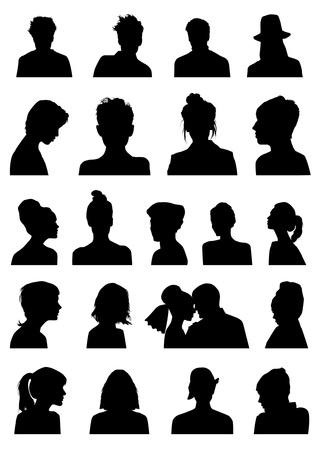 Heads silhouettes Ilustrace