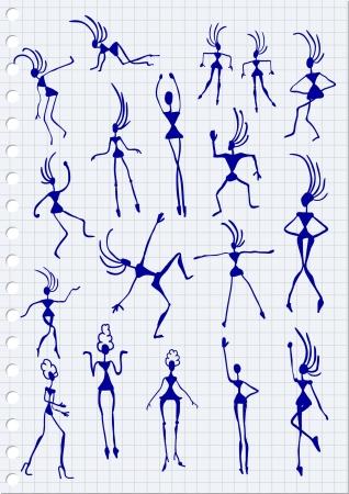Cartoon Figures on paper background Stock Vector - 20284518