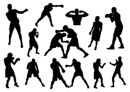 boxeador: Boxeadores siluetas
