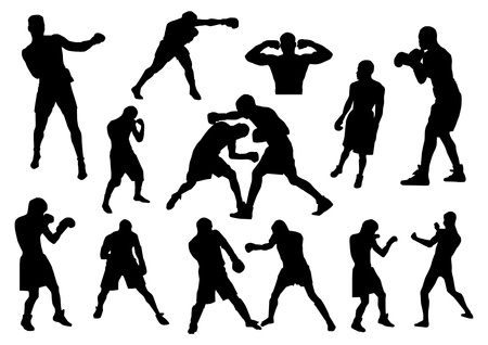 Boxers silhouetten Stock Illustratie