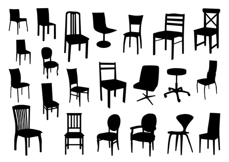 stylish chair: Set of chair silhouettes Illustration