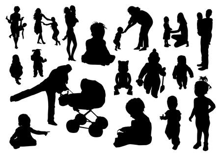 Kinder Silhouetten Vektorgrafik