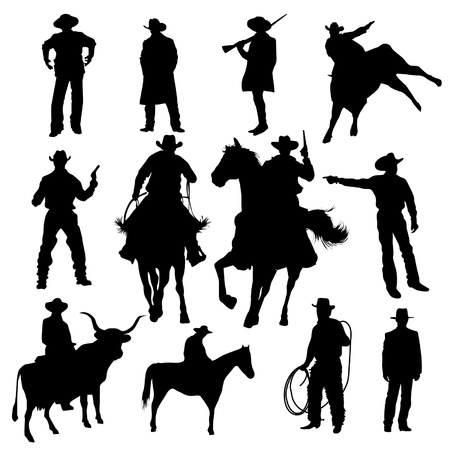 cowboy on horse: Set of cowboy silhouettes