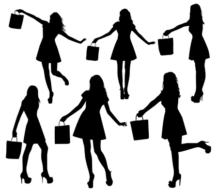 woman shadow: Woman with bag silhouettes Illustration