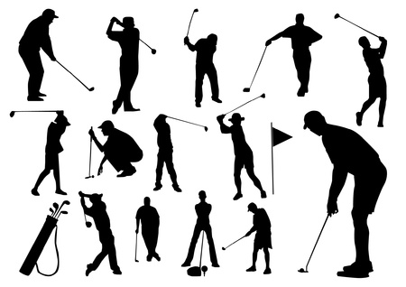 Set of golf players silhouettes Vector