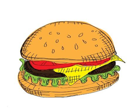 sesame seeds: Color Hamburger Illustration