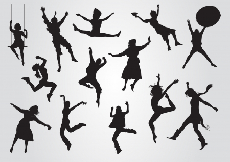 Jumping silhouettes Stock Vector - 20284513